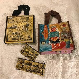 4 Bags: Vintage Comic Robot Lunch Bags & Pouches